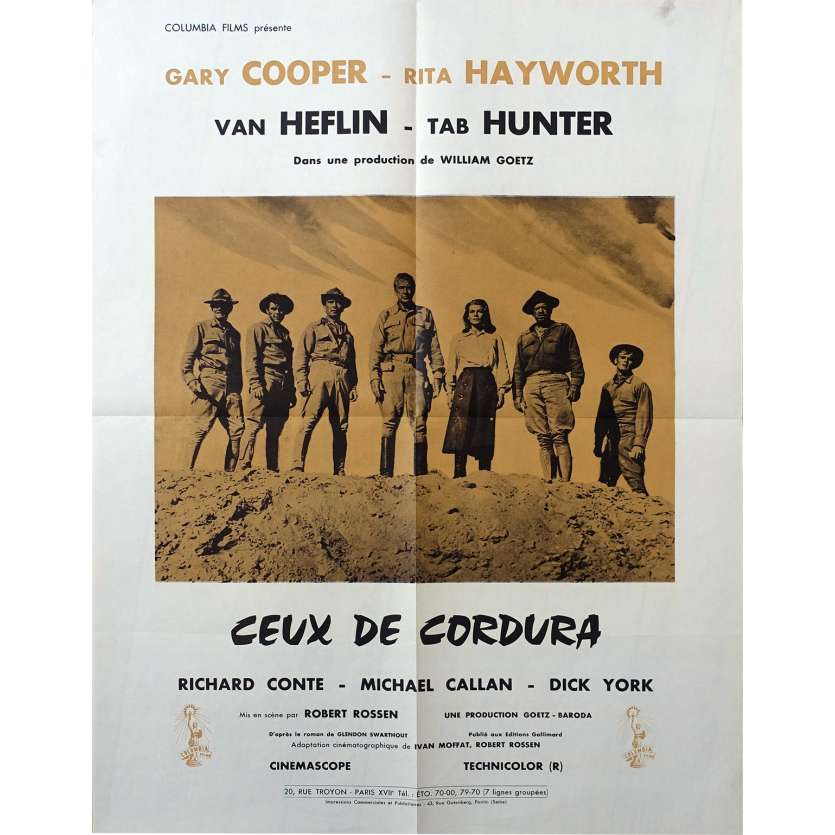 THEY CAME TO CORDURA French Movie Poster 20x26 '59 Gary Cooper, Rita Hayworth