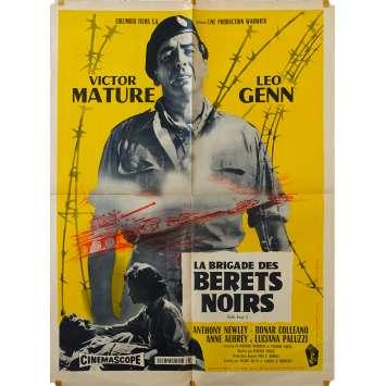LA BRIGADE DES BERETS NOIRS Affiche de film 60x80 - 1958 - Victore Mature