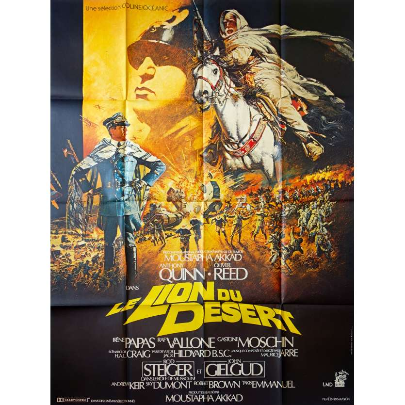 LION OF THE DESERT French Movie Poster 47x63 '81 Anthony Quinn, Oliver Reed