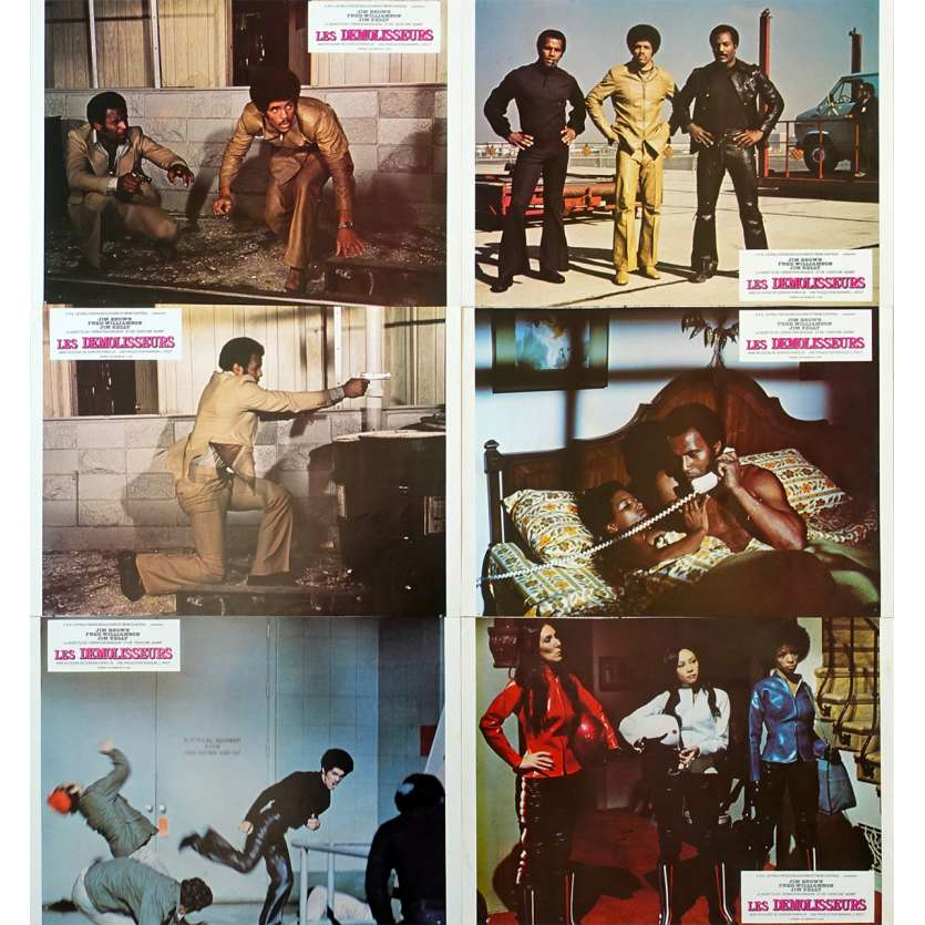THREE THE HARD WAY Lobby cards x8 FR 1973 - Jim Kelly, Blaxploitation