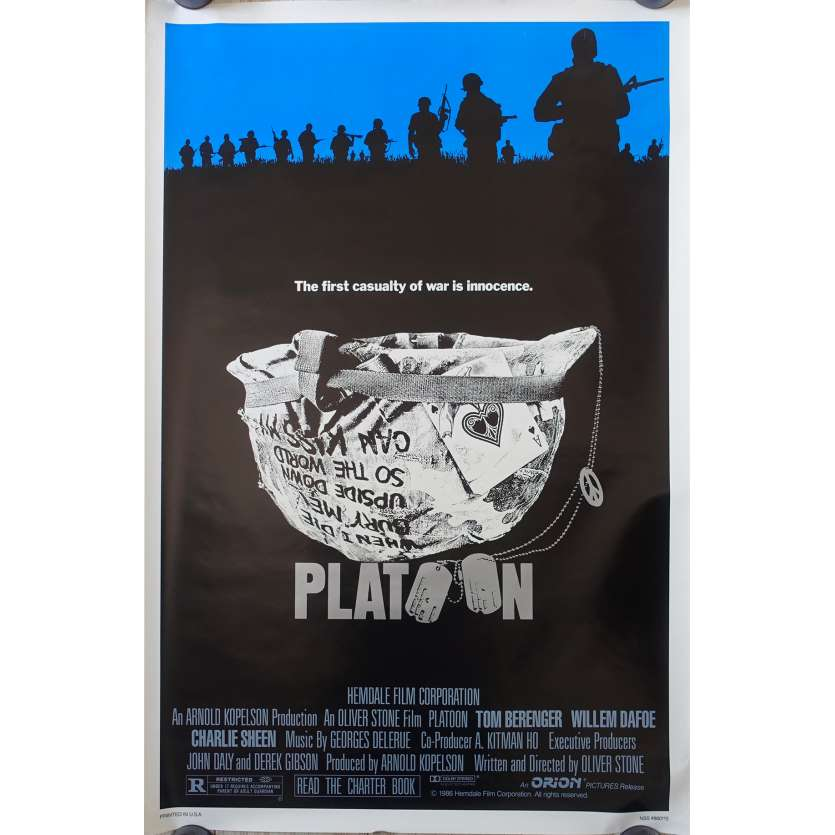 PLATOON Original Movie Poster Advance - 27x41 in. - 1986 - Oliver Stone, Willem Dafoe