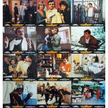 LE COWBOY Original Lobby Cards x12 - 9x12 in. - 1985 - Georges Lautner, Aldo Maccione