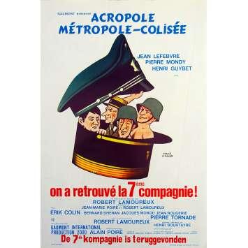 ON A RETROUVE LA 7EME COMPAGNIE Affiche de film - 35x55 cm. - 1975 - Jean Lefebvre, Pierre Mondy, Robert Lamoureux