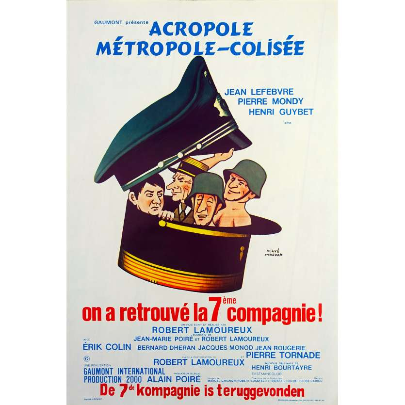 THE 7th COMPANY HAS BEEN FOUND Original Movie Poster - 14x21 in. - 1975 - Robert Lamoureux, Jean Lefebvre, Pierre Mondy