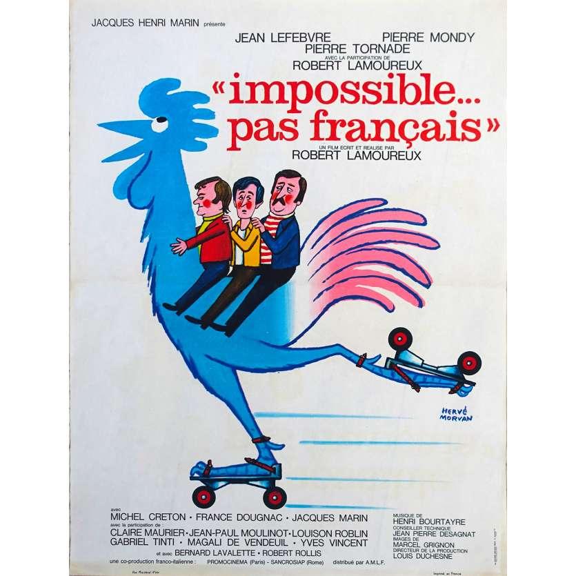 IMPOSSIBLE PAS FRANÇAIS Original Movie Poster - 15x21 in. - 1974 - Robert Lamoureux, Jean Lefebvre, Pierre Mondy