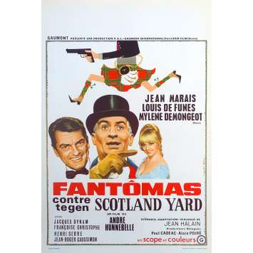 FANTOMAS VS SCOTLAND YARD Original Movie Poster - 14x21 in. - 1967 - Jean Marais, Louis de Funès