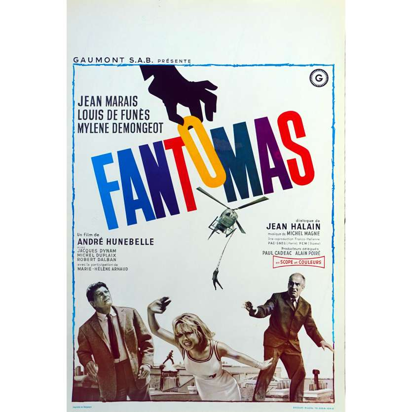 FANTOMAS Original Movie Poster - 14x21 in. - 1964 - André Hunebelle, Jean Marais, Louis de Funès