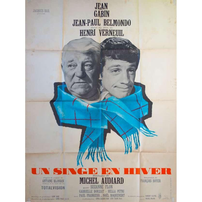 A MONKEY IN WINTER Original Movie Poster - 47x63 in. - 1962 - Henri Verneuil, Jean-Paul Belmondo