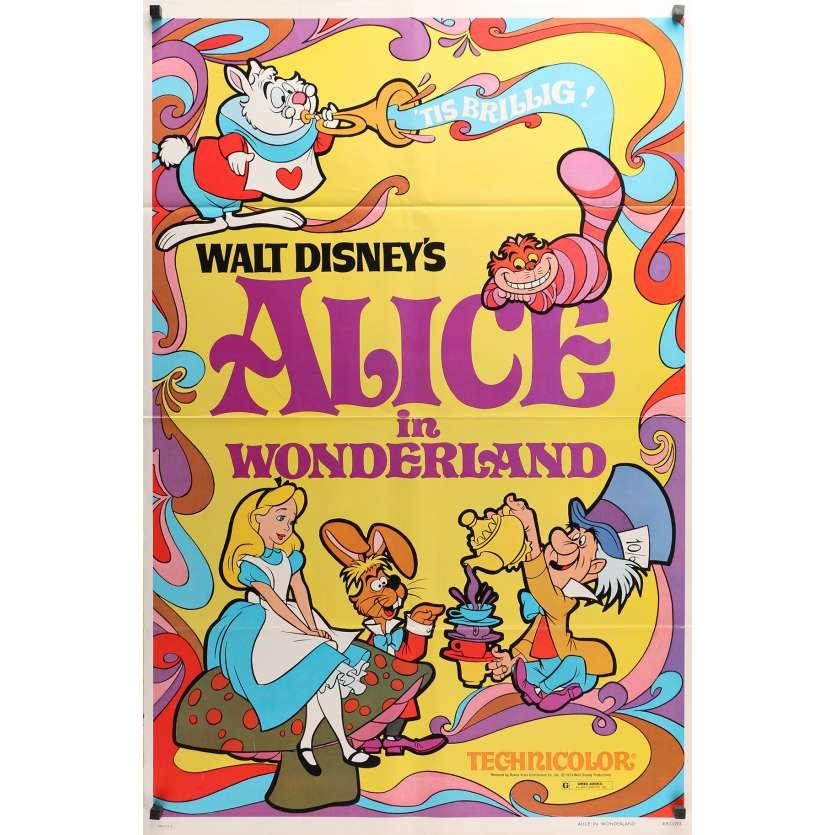 ALICE IN WONDERLAND Original Movie Poster - 27x41 in. - R1980 - Walt Disney, Ed Wynn