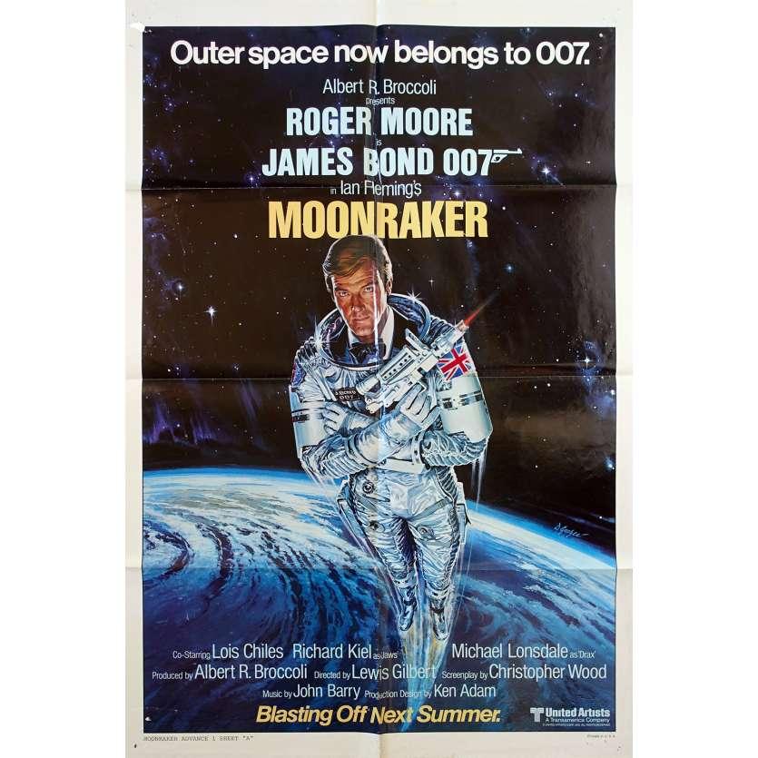 MOONRAKER Original Movie Poster Teaser, Style A - 27x41 in. - 1979 - James Bond, Roger Moore