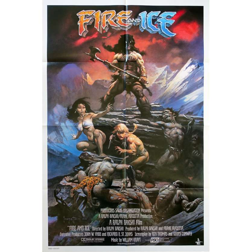 FIRE AND ICE Original Movie Poster - 27x41 in. - 1983 - Ralph Bakshi, Randy Norton