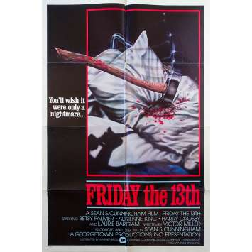 Friday THE 13TH Original Movie Poster Int'l - 27x41 in. - 1980 - Sean S. Cunningham, Kevin Bacon