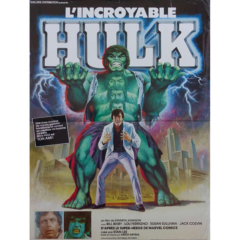 THE INCREDIBLE HULK Original Movie Poster - 15x21 in. - 1978 - Kenneth Johnson, Lou Ferrigno