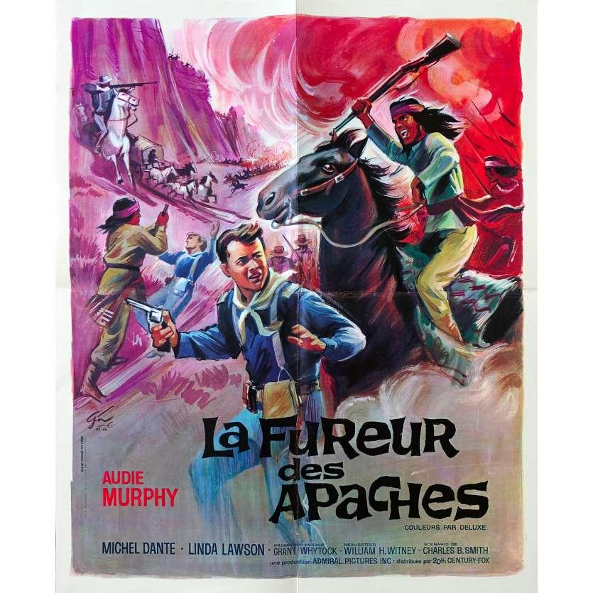 LA FUREUR DES APACHES Affiche de film - 40x60 cm. - 1964 - Audie Murphy, William Witney