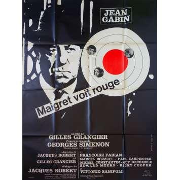 MAIGRET VOIT ROUGE Affiche de film 120x160 - 1963 - Jean Gabin, Gilles Grangier