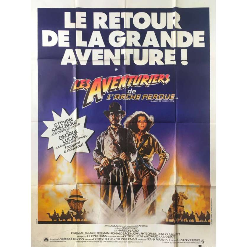 INDIANA JONES - LES AVENTURIERS DE L'ARCHE PERDUE Affiche de film Style B - 120x160 cm. - 1981 - Harrison Ford, Steven Spielberg