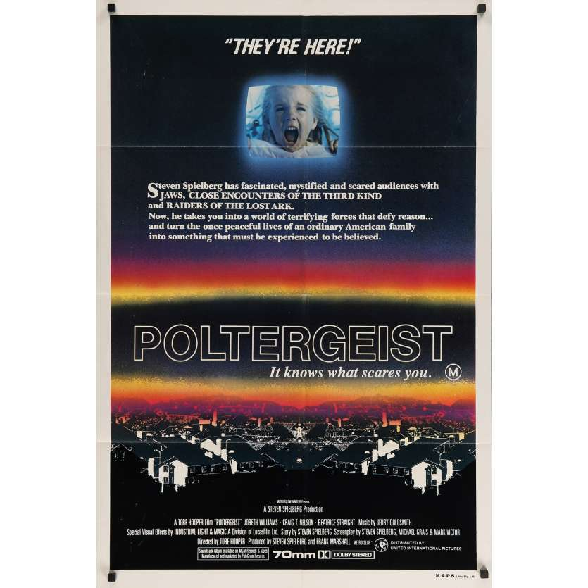 POLTERGEIST Original Movie Poster - 29x40 in. - 1982 - Steven Spielberg, Heather o'rourke
