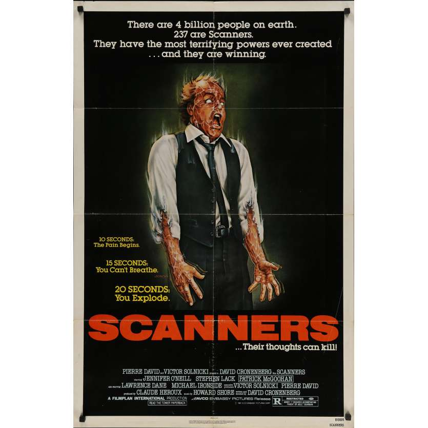 SCANNERS Original Movie Poster - 27x41 in. - 1981 - David Cronenberg, Patrick McGoohan