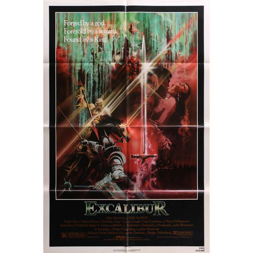 EXCALIBUR Original Movie Poster - 27x41 in. - 1981 - John Boorman, Nigel Terry, Helen Mirren