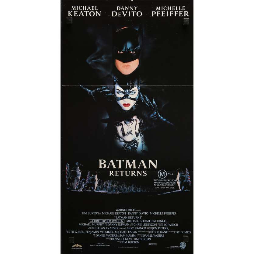 BATMAN RETURNS Original Movie Poster - 13x30 in. - 1992 - Tim Burton, Michael Keaton