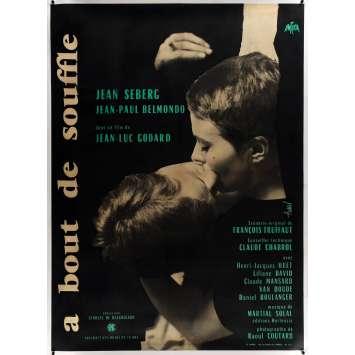 A BOUT DE SOUFFLE Affiche de cinéma Originale entoilée - 120x160 - 1960 - Godard, Nouvelle Vague