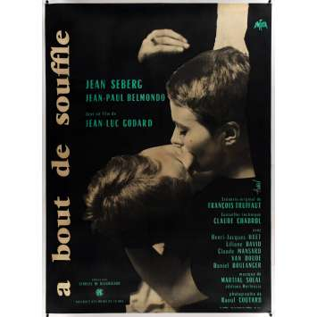 A BOUT DE SOUFFLE / BREATHLESS Original Linen Movie Poster - 47x63 - 1960 - Godard, Nouvelle Vague
