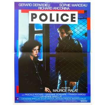 POLICE Affiche de film - 40x60 cm. - 1985 - Gérard Depardieu, Maurice Pialat