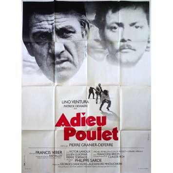ADIEU POULET Affiche de film - 120x160 cm. - 1975 - Lino Ventura, Patrick Dewaere, Pierre Granier-Deferre