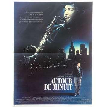 AUTOUR DE MINUIT Affiche de film - 40x60 cm. - 1986 - Dexter Gordon, Bertrand Tavernier