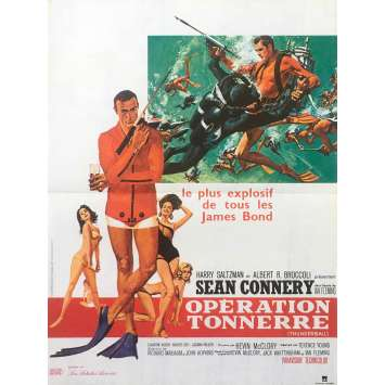 THUNDERBALL Movie Poster 15x21 in. French - R1980 - James Bond, Sean Connery