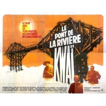 LE PONT DE LA RIVIERE KWAI Affiche de film 4x3 m - 1957/R1970 - David Lean, Alec Guinness,