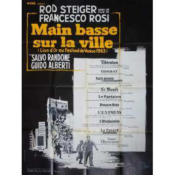 HANDS OVER THE CITY Original Movie Poster - 47x63 in. - 1963 - Francesco Rosi, Rod Steiger