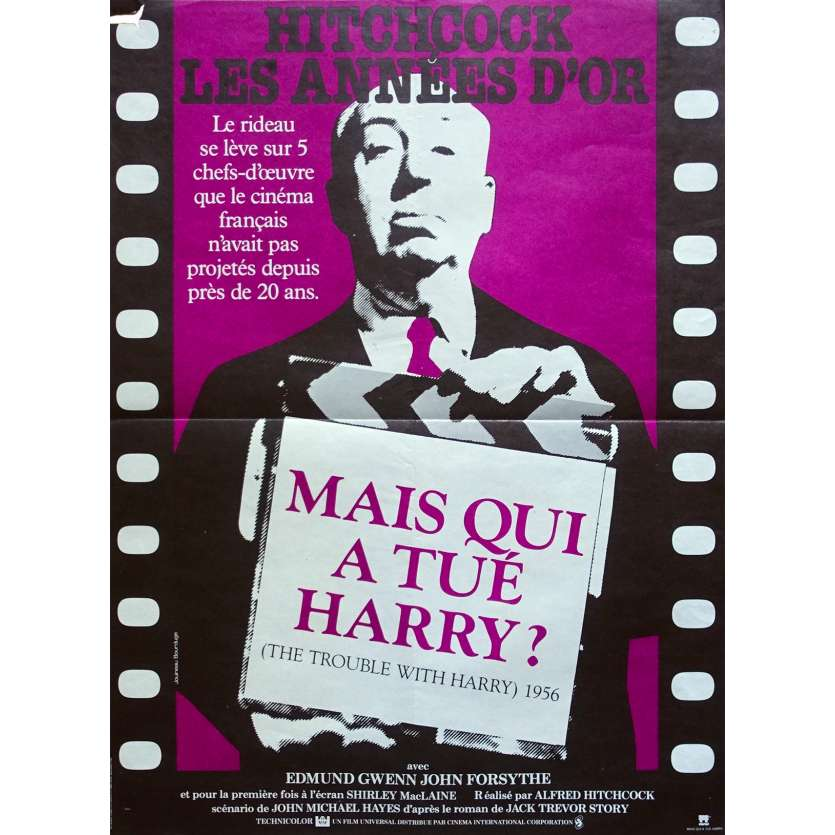 THE TROUBLE WITH HARRY Original Movie Poster - 15x21 in. - R1980 - Alfred Hitchcock, Shirley MacLaine