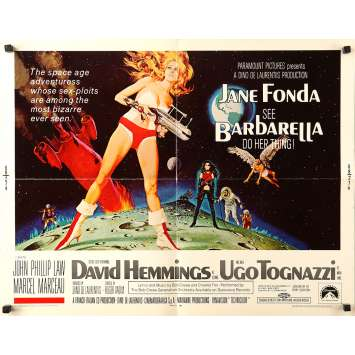 BARBARELLA Original Movie Poster Adv. - 21x28 in. - 1968 - Roger Vadim, Jane Fonda