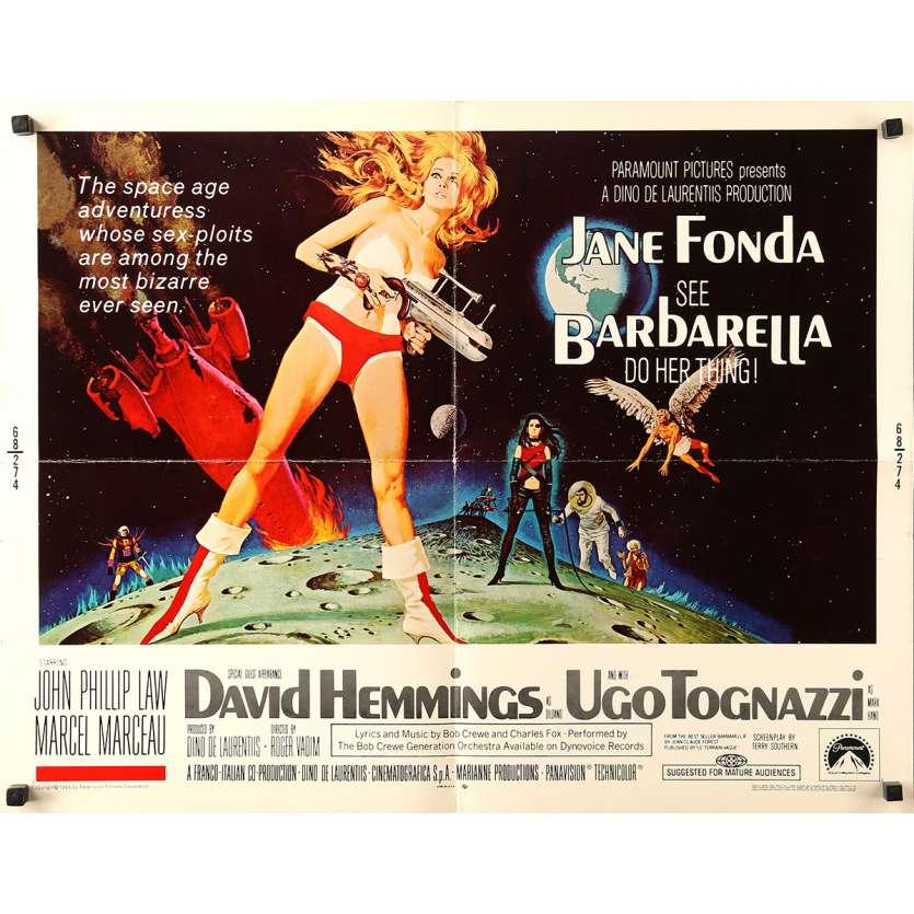 BARBARELLA Original Movie Poster Adv. - 21x28 in. - 1968 - Roger Vadim, Jane Fonda