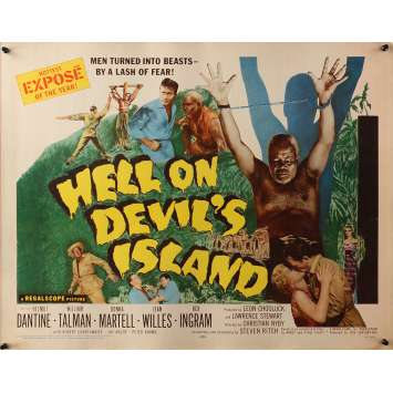 HELL ON DEVIL'S ISLAND Original Movie Poster - 21x28 in. - 1957 - Christian Nyby, Helmut Dantine