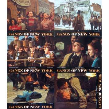 GANGS OF NEW YORK Original Lobby Cards x6 - 9x12 in. - 2002 - Martin Scorsese, Leonardo DiCaprio, Daniel Day-Lewis