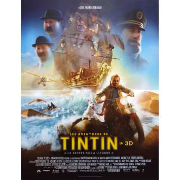 THE ADVENTURES OF TINTIN Original Movie Poster - 15x21 in. - 2011 - Steven Spielberg, Jamie Bell
