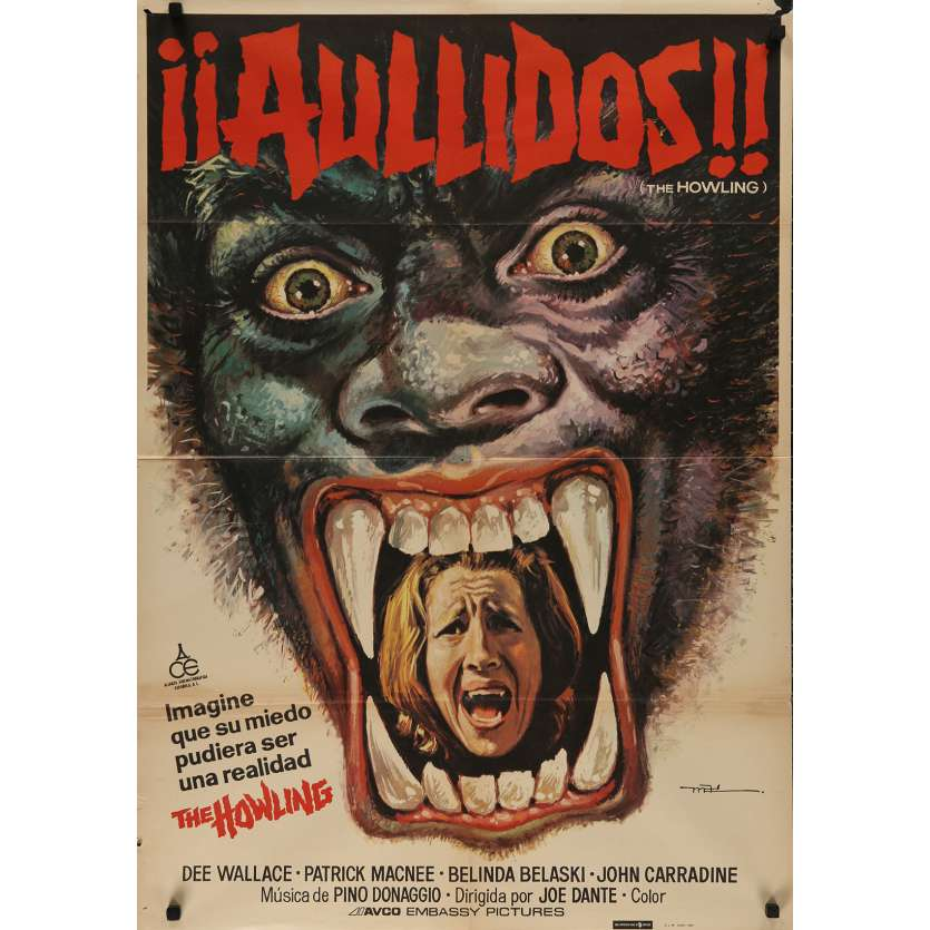 THE HOWLING Spanish Movie Poster - 29x40 in. - 1981 - Joe Dante, Patrick McNee