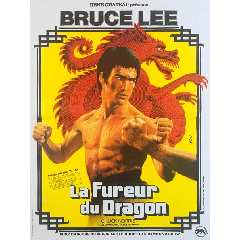 THE WAY OF THE DRAGON Movie Poster - 15x21 in. - R1990 - Restrike - Bruce Lee, Bruce Lee, Chuck Norris