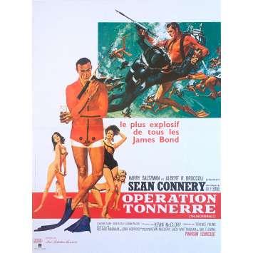 THUNDERBALL Movie Poster - 15x21 in. - R1990 - Restrike - James Bond, Sean Connery