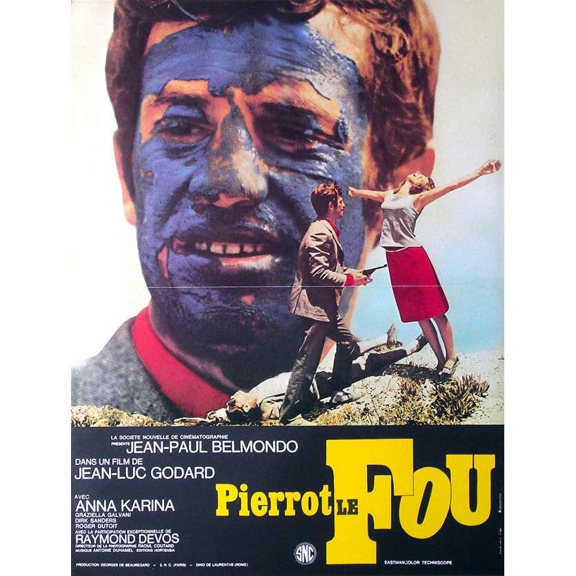 PIERROT LE FOU Movie Poster - 15x21 in. - R2000 - Restrike - Jean-Luc Godard, Jean-Paul Belmondo