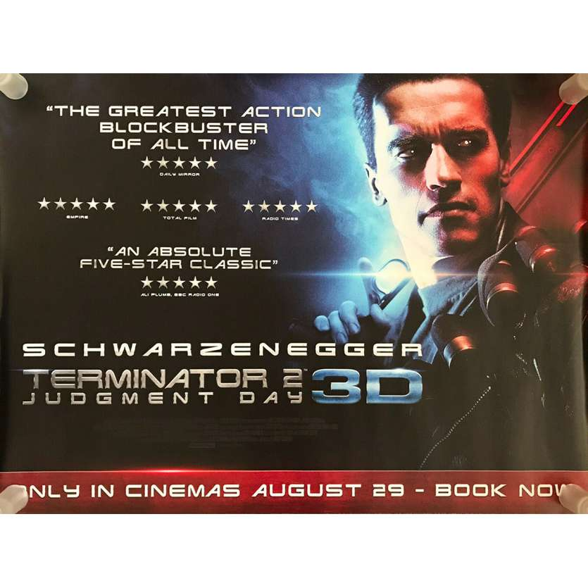 TERMINATOR 2 Original Movie Poster - 30x40 in. - R2010 - James Cameron, Arnold Schwarzenegger
