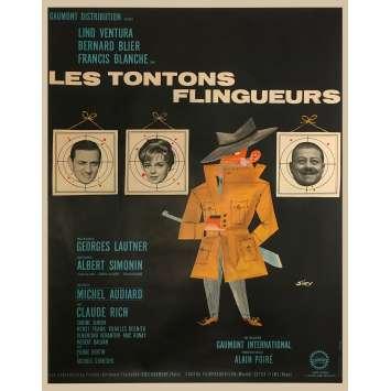 LES TONTONS FLINGUEURS Affiche de film - 120x160 cm. - 1963 - Lino Ventura, Georges Lautner
