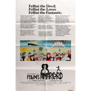 AMARCORD Original Movie Poster - 27x40 in. - 1974 - Federico Fellini, Magali Noel