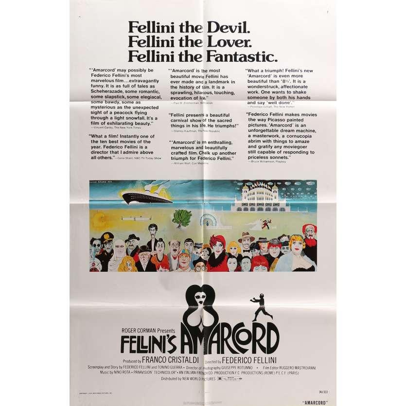 AMARCORD Original Movie Poster - 27x40 in. - 1974 - Federico Fellini, Magali Noel