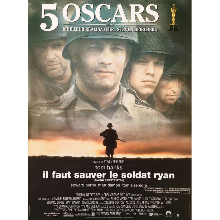 SAVING PRIVATE RYAN Original Movie Poster Oscars - 15x21 in. - 1998 - Steven Spielberg, Tom Hanks