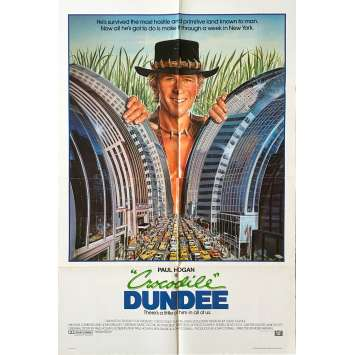 CROCODILE DUNDEE Affiche de film - 69x104 cm. - 1986 - Paul Hogan, Peter Faiman