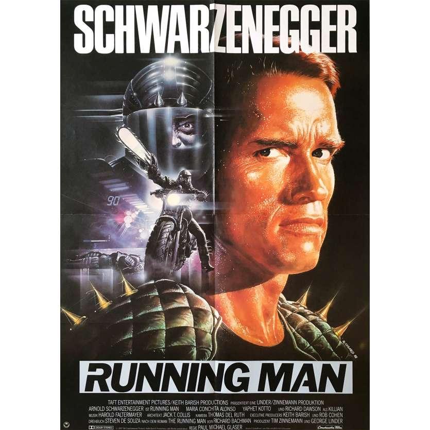 THE RUNNING MAN Original Movie Poster - 23x33 in. - 1987 - Paul Michael Glaser, Arnold Schwarzenegger