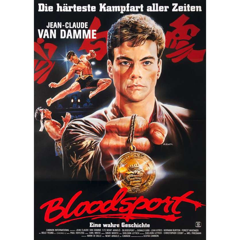 BLOODSPORT Original Movie Poster - 23x33 in. - 1988 - Newt Arnold, Jean-Claude Van Damme